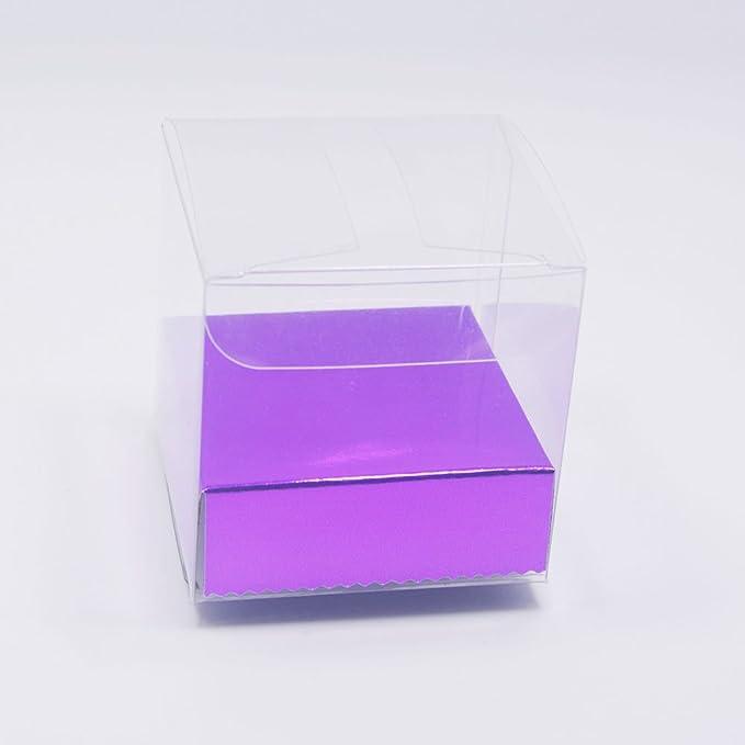 HangQi 100 x transparente PVC plástico cubo caja de embalaje de regalo boda favor dulces 6 x 6 x 6 cm: Amazon.es: Hogar
