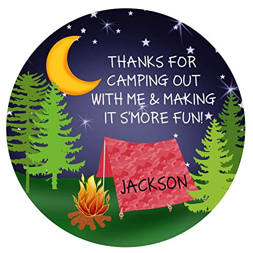 Camping Birthday Party Camping Stickers Camping Party Camping Favor Labels Camping Party Favors Glamping Smores Stickers