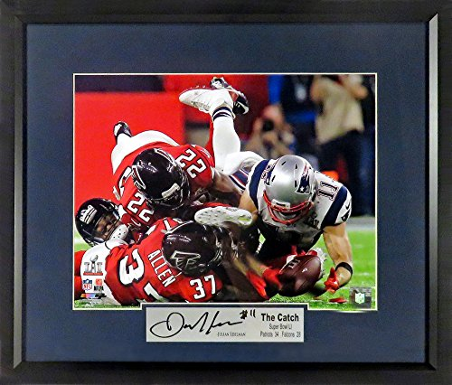 "New England Patriots Memorabilia - New England Patriots Julian Edelman ""The Catch"" Super Bowl LI 11x14 Photograph (SGA Signature Engraved Plate Series) Framed"