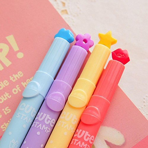 3PCS Stamp Ink Pens Highlighters Cute Pen Stamper Markers Watercolor Pen for Office School Supplies (Multicolor) by paway (Image #1)