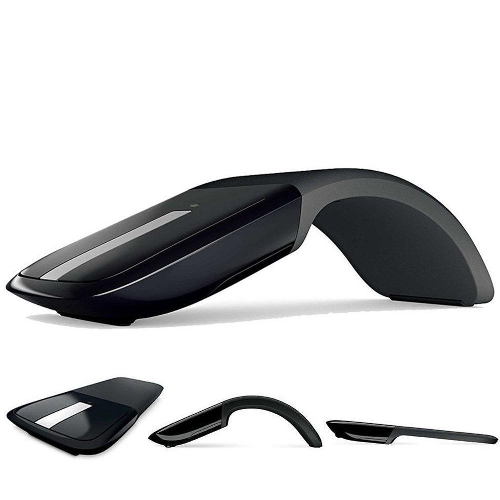 Wireless Mouse with USB Mini Folding Mouse 2.4GHz Arc Optical Touch Receiver Suitable for PC Laptop Notebook (Black)