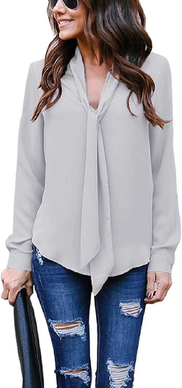 heekpek Camisa Lisa Manga Larga Blusa Escote en V para Mujer ...