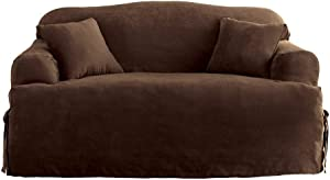 SureFit Soft Suede Sofa Slipcover-One Piece T-Cushion-Relaxed Fit Corner Ties-Up to 96 Inches Wide Machine Washable, Chocolate Color