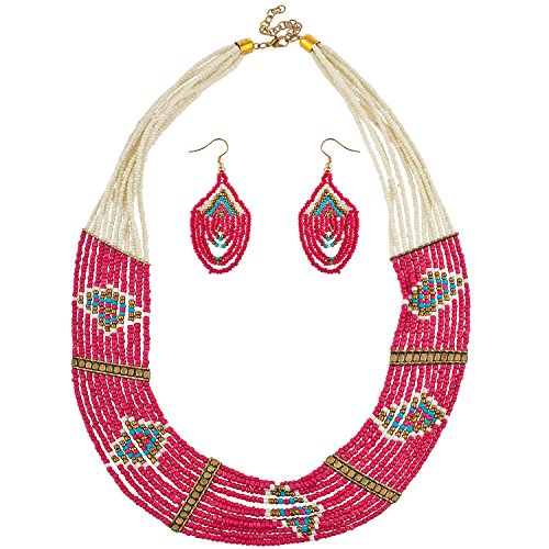 Lux Accessories Multicolor Seed Bead Tribal Necklace Earring Jewelry Set 2PC