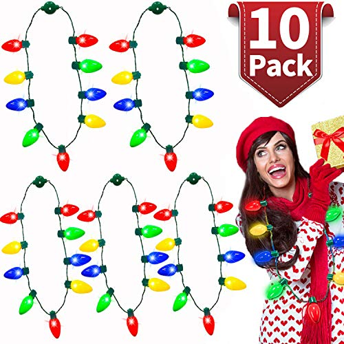 10 Pack Christmas LED Light Up Bulb Necklace Christmas Holiday Accessories Party Favors Ugly Sweater Xmas Necklace for Kids Men Women, Christmas Decoration New Year Party Supplies (Sweater Up Light Christmas Diy)