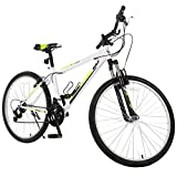 GTM 26'' Mountain Bike 18 Speed Bicycle Shimano Hybrid College School Sports White