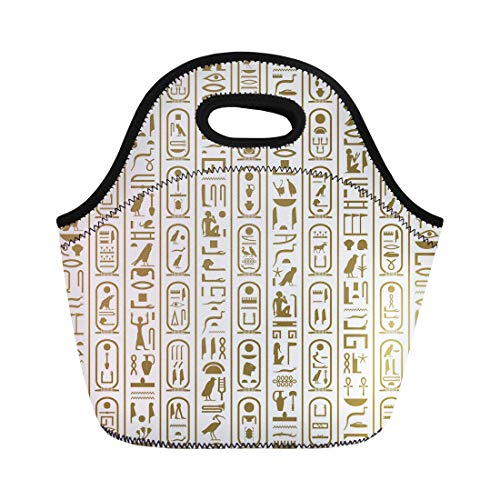 Semtomn Lunch Tote Bag Africa Ancient Egyptian Writing Ankh Antiquities Cartouche Culture Egypt Reusable Neoprene Insulated Thermal Outdoor Picnic Lunchbox for Men Women