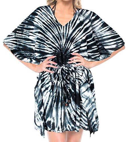 LA LEELA Rayon Tie Dye Beach Top Girls OSFM 14-28 [L-4X] Black_3351