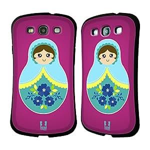 Head Case Designs Pink Nesting Dolls Hybrid Gel Back Case for Samsung Galaxy S3 III I9300