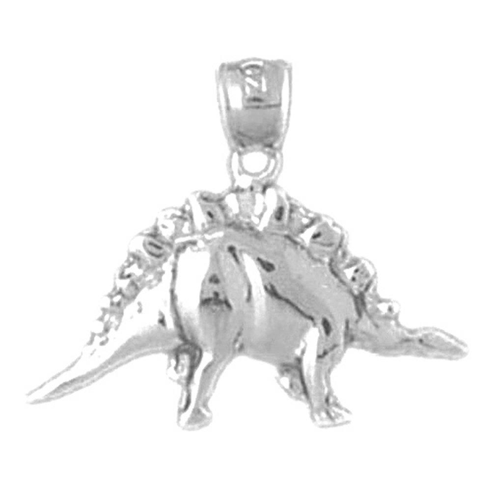 Rhodium-plated 925 Silver Stegosaurus Dinosaur Pendant with 16 Necklace Jewels Obsession Stegasaurus Dinosaur Necklace