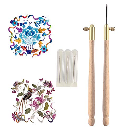 (Sewing Tools & Accessory - 1set Diy Wooden Handle Tambour Hook With 3 Needles 70 90 100 Embroidery Beading Crochet Set Kit - Embroidery Bead Bead HoopNeedle Stitch Hook Tambour Set Wo)
