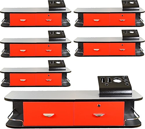 6x LCL Beauty Red Locking Wall Mount Styling Station with Stainless Steel Top, Black Metal Tabletop Appliance Holder & 4 Port Power Strip by LCL Beauty