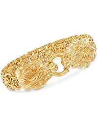 Italian 14kt Yellow Gold Double Lion Head Byzantine Bracelet