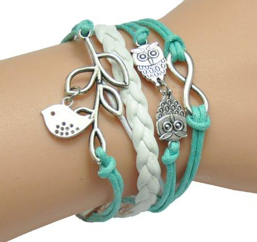 HUMASOL Womens Retro Knit Charm Leather Suede Wrap Bracelet Gift