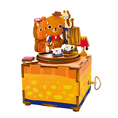 Rolife Hand Crank Music Box Machinarium-DIY Wood Craft Kit-3d Wooden Puzzle-Creative Gift for Boys and Girls When Christmas/Birthday/Valentine's Day (Love Story)