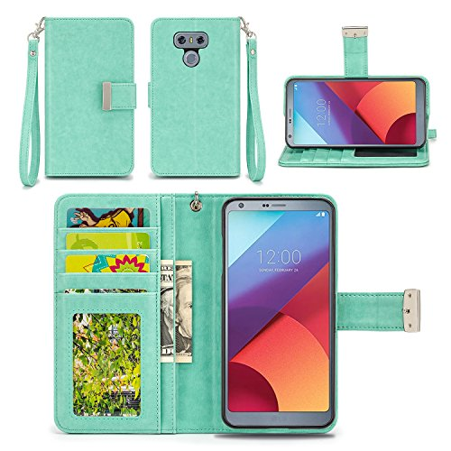 LG G6 Case - IZENGATE [Classic Series] Wallet Cover PU Leather Flip Folio with Stand (Mint)
