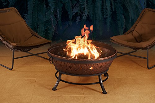 Sunjoy L-FT629PST Squaw Valley Firepit, Cozy Warmth - Large fire bowl gives cozy warmth to your patio, backyard, deck, lawn, or garden Spark guard protects against embers Each leg has a scuff protector to protect floors or surfaces from marring or impairment - patio, outdoor-decor, fire-pits-outdoor-fireplaces - 51gdaC9kC5L -