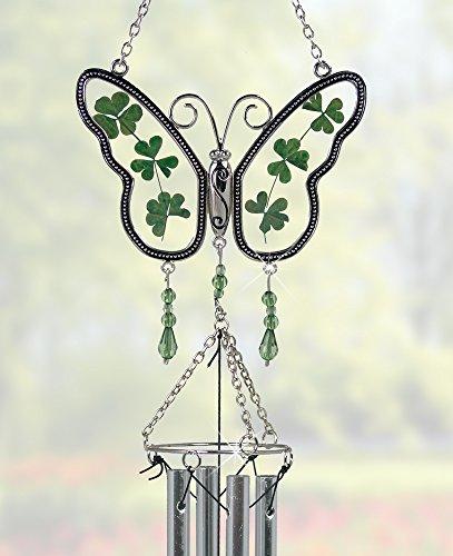 Butterfly Garden Suncatcher - Irish Suncatcher - Butterfly Windchime with Real Pressed Shamrock Wings - Irish Gifts - Butterfly Suncatcher - 17 Inch High