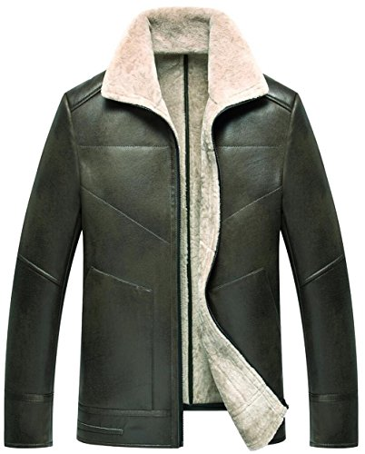 Lapel Casual Plus Warm Thick Windproof Men's Fur One Parka Coat Jacket Bomber Cashmere Green Military Uk1726 Winter Outdoor Classic Leather JIINN qY1aw