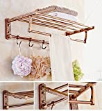 GL&G European luxury Rose gold Bathroom Bath Towel Rack Double Towel Bar Space aluminum Bathroom Storage & Organization Bathroom Shelf Shower Wall Mount Holder Towel Bars,6023.513.5cm