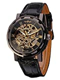 Mudder Men's Mechanical Elegant Skeleton Dial Wrist Watch, Black