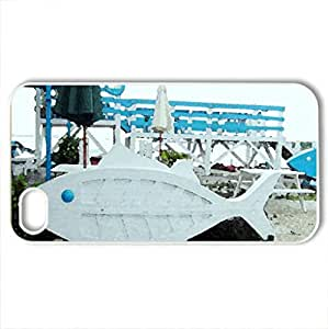 Beach coffee shop - Case Cover for iPhone 4 and 4s (Beaches Series, Watercolor style, White)