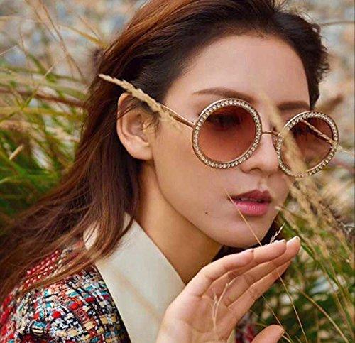 con Gafas Eye Wear para moda damas diamantes de grande mujer sol de para con marca Marrón negro azul marco redondas tamaño de Elegante estuche imitación lentes diseñador gran de rnrFWxSU4