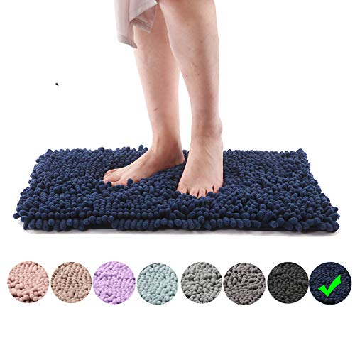 Freshmint Chenille Bath Rugs Extra Soft Fluffy and Absorbent Microfiber Shag Rug, Non-Slip Plush Carpet for Tub Bathroom Shower Mat, Machine-Washable Durable Thick Area Rugs (24″ x 16.5″, Navy)