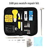 MokenEye 168 PCS Watch Repair Kit Watch Battery Replacement Tool Kit Watch Case Opener Professional Watch Battery Replacement Tool Kit, Spring Bar Tool Set