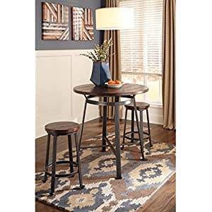 Ashley Furniture Signature Design - Challiman 5 Piece Dining Room Bar Set - Pub Height - Round - Rustic Brown - 4 Stools