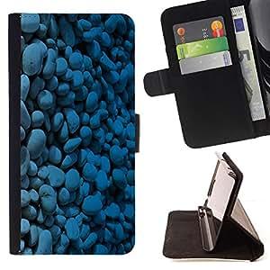 - Blue Pebbles Stones - - Prima caja de la PU billetera de cuero con ranuras para tarjetas, efectivo desmontable correa para l Funny HouseFOR HTC One M7