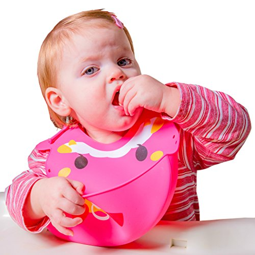 Silicone Baby Bib with 3-Way Fitting by Hominize (Baby Sheep)