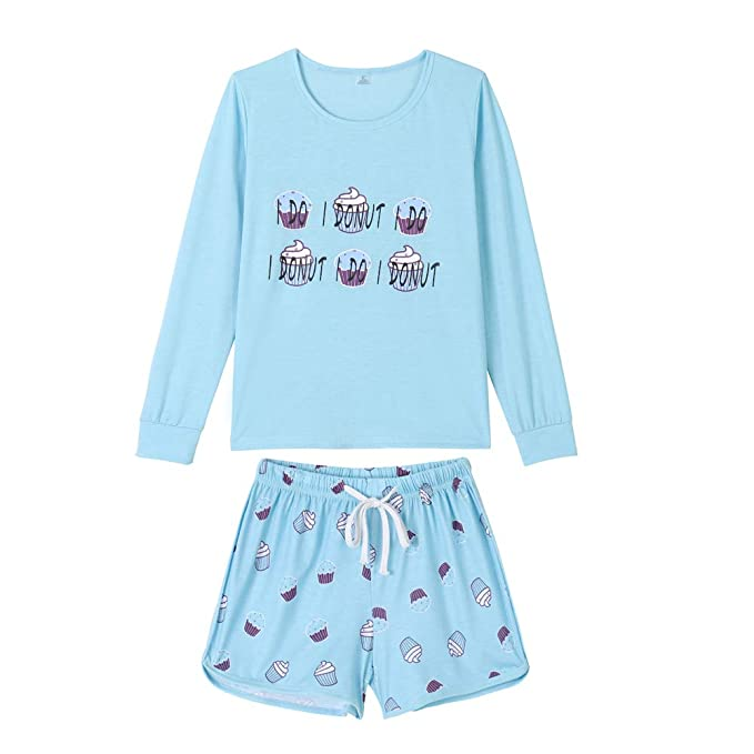 Image Unavailable. Image not available for. Color  YIJIU Women s Cute  French Fries Sleepwear Long Sleeve Top and Shorts 2PCS ... 6444a62b8