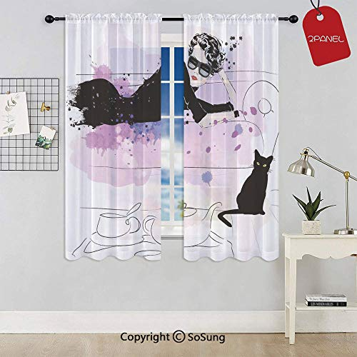 (Girl with Sunglasses Lying on Couch Cat Elegance in Home Theme with Stains Rod Pocket Sheer Voile Window Curtain Panels for Kids Room,Kitchen,Living Room & Bedroom,2 Panels,Each 42x54 Inch,Black)
