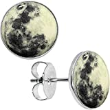 Body Candy Stainless Steel Moon Glow in the Dark Stud Earrings