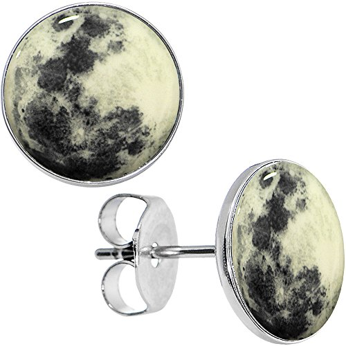 Body Candy Stainless Steel Moon Glow in the Dark Stud (Halloween Body Jewelry)
