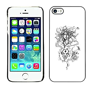 SoulCase / Apple Iphone 5 / 5S / Horoscope Zodiac Leo Illustration Original / Delgado Negro Plástico caso cubierta Shell Armor Funda Case Cover