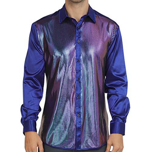 WULFUL Men Dress Shirt Sequins Long Sleeve Button Down Shirt Luxury Disco Party Nightclub Club Prom Costume