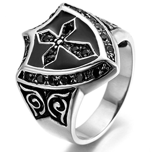 [Stainless Steel Ring for Men, Cross Ring Gothic Black Band Silver Band 2028MM Size 12 Epinki] (2028 Costume Jewelry)
