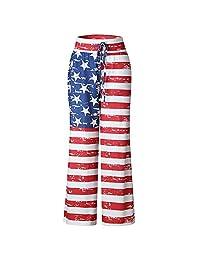 Women's Wide Leg High Waist Casual Drawstring Trousers American USA Flag Pants