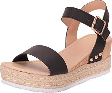 475c9d017957 Cambridge Select Women s Studded Buckled Ankle Strap Espadrille Mid  Platform Wedge Sandal (10 B(