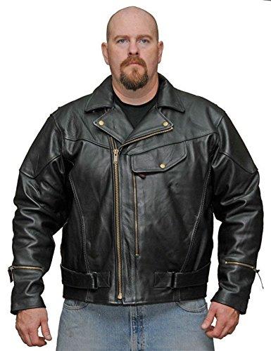 MEN'S MOTORCYCLE MOTORBIKE PISTOL PETE COWHIDE LEATHER JACKET W/LINER BLACK NEW (44 -