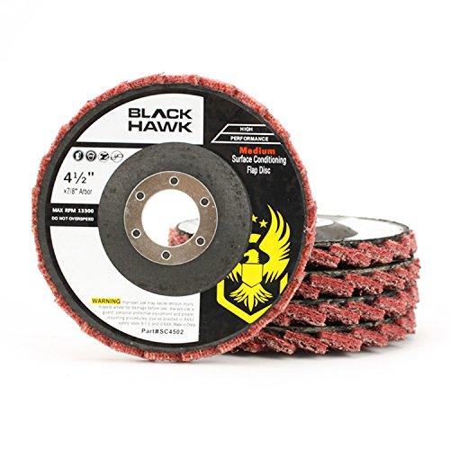 5 Pack 4-1/2'' x 7/8'' Black Hawk Surface Conditioning Grinding, Sanding, Polishing Flap Discs T29 (Red/Maroon - Medium)