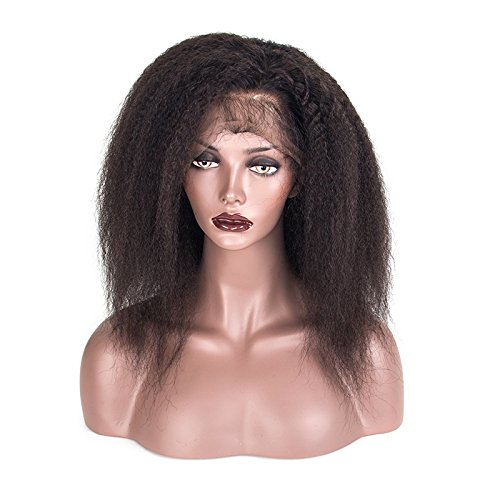 HairPR Front Lace Wigs human hair for black women Kinky Straight Indian Hair 100% Virgin Remy Human Hair Wig #1B 10 inches (Hair Wigs Remy Indian)