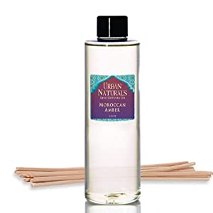 Urban Naturals Moroccan Amber Reed Diffuser Refill Set | Includes a Free Set of Reed Sticks! 4 oz. | Great Gift Idea Home Fragrance Lovers!