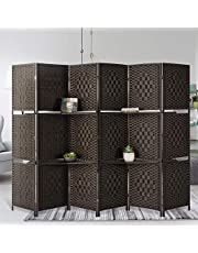 Esright 6 Panels Room Divider, 6 FT Tall&Extra Wide Weave Fiber Room Divider with 2 Shelved, Double Hinged,Folding Privacy Screens, Freestanding Room Dividers, Coffee
