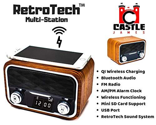 Retro Tech Multi Station - Wireless Charger Bluetooth Alarm Clock - Docking Speaker for iPhone 6, 7, 8, x, and xs - Bedside Phone Charging Dock iPhone/Samsung Plus USB Port, FM Radio Alarm Clocks