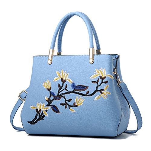 Embroidery HandBags Navy Blue Crossbody Flower Shoulder Women Bags Blue Bags Tote Flada Liht Uq4wZn