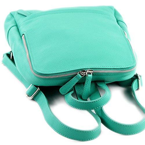 Mochila Mochila de Mochila Citybag para ital T138 Mochila Mint de cuero mujer Leather modamoda zgHq18FwS
