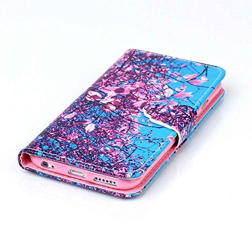 Galaxy S6 Edge Plus Funda, Flip funda de cuero PU para Samsung Galaxy S6 Edge Plus, Galaxy S6 Edge Plus Leather Wallet Case Cover Skin Shell Carcasa Funda, Ukayfe Cubierta de la caja Funda protectora  Blue Pink Flower
